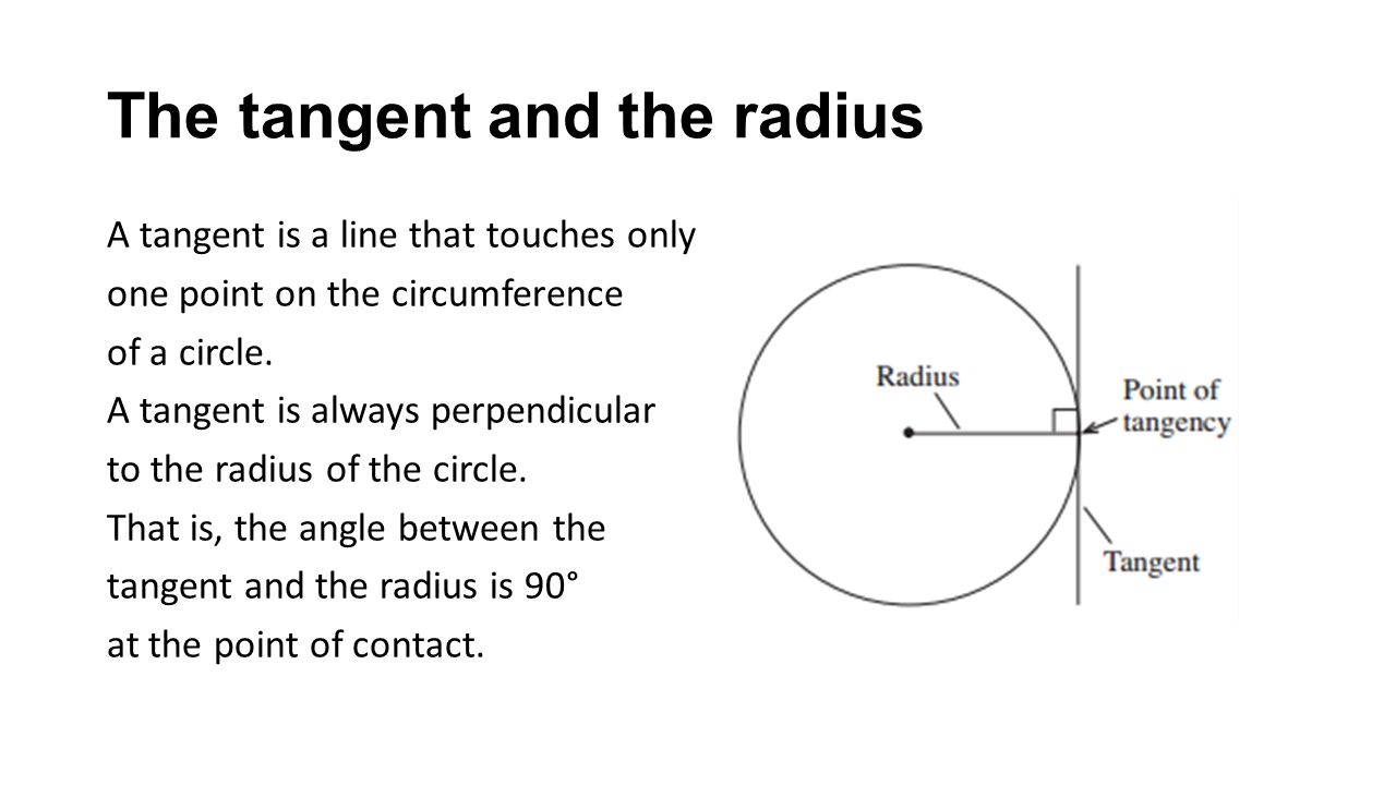 The tangent and the radius A tangent is a line that touches only one point on the circumference of a circle.
