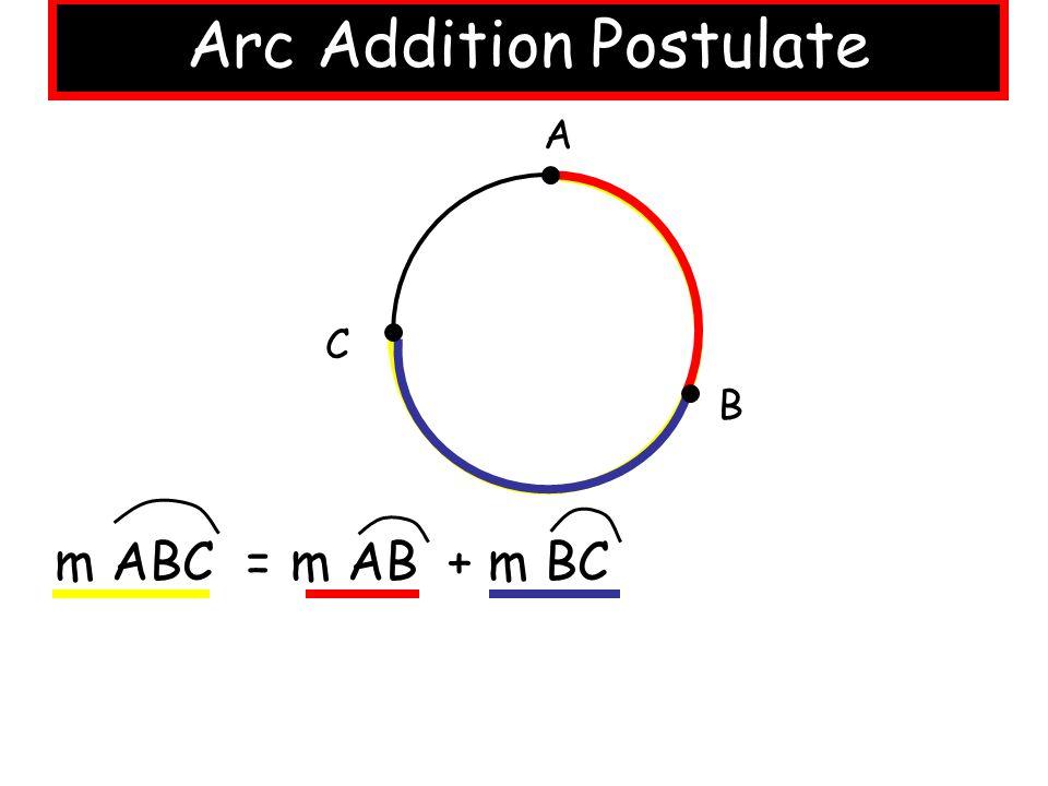Arc Addition Postulate A B C m ABC = m AB + m BC