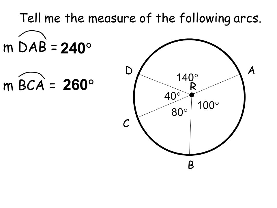 Tell me the measure of the following arcs. 80  100  40  140  A B C D R m DAB = m BCA = 240  260 
