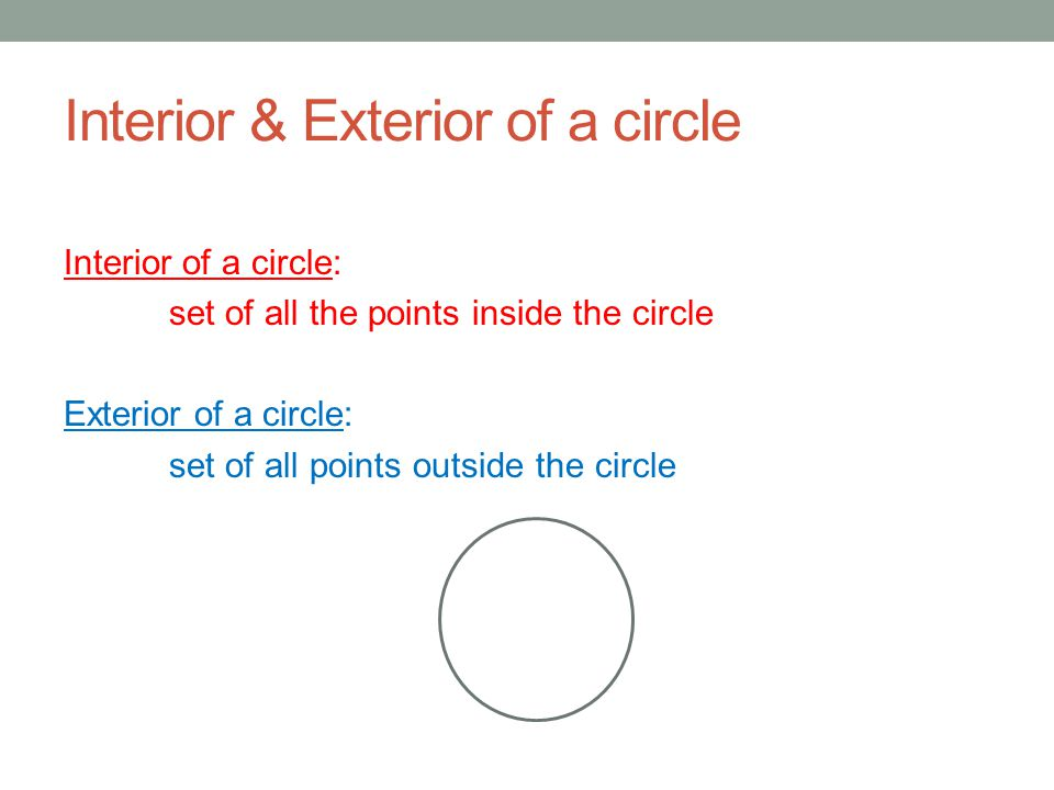 Lines & Segments that intersect a circle A G O B F E C D Chord: is a segment whose endpoints lie on a circle.