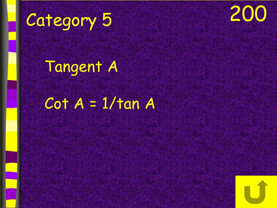 200 Category 5 Tangent A Cot A = 1/tan A