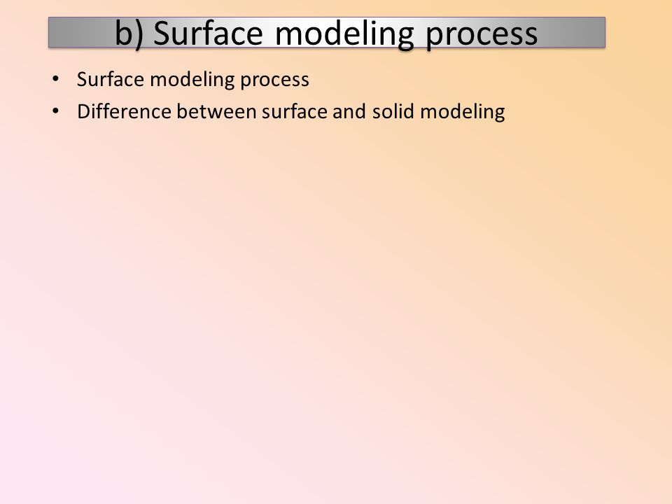 Surface modeling process Difference between surface and solid modeling b) Surface modeling process