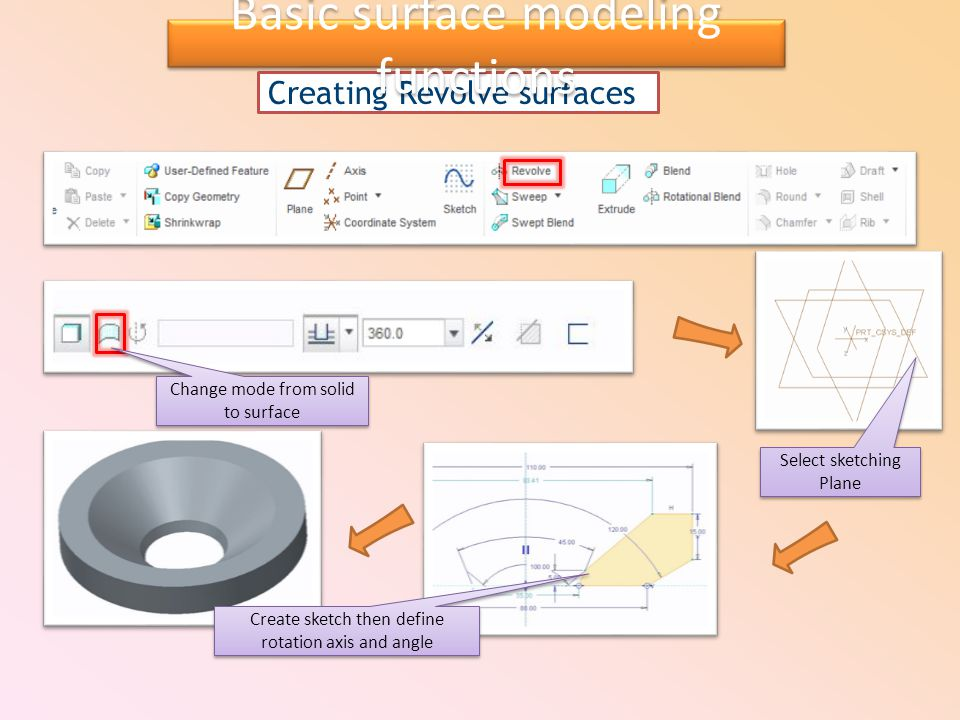 Creating Revolve surfaces Select sketching Plane Create sketch then define rotation axis and angle Change mode from solid to surface Basic surface mod