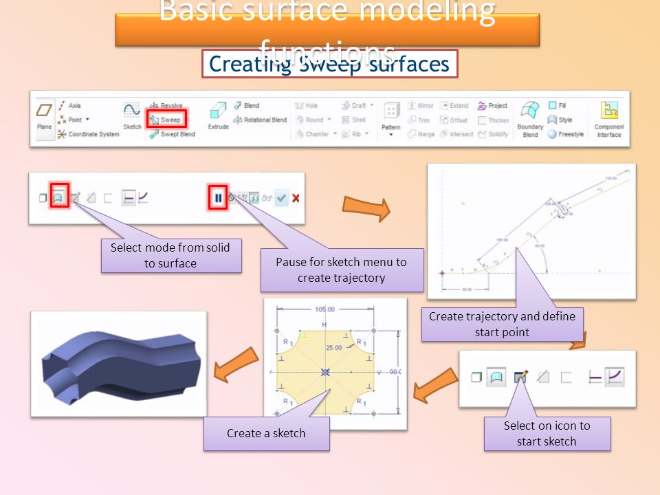 Creating Sweep surfaces Create a sketch Select mode from solid to surface Pause for sketch menu to create trajectory Create trajectory and define start point Select on icon to start sketch Basic surface modeling functions
