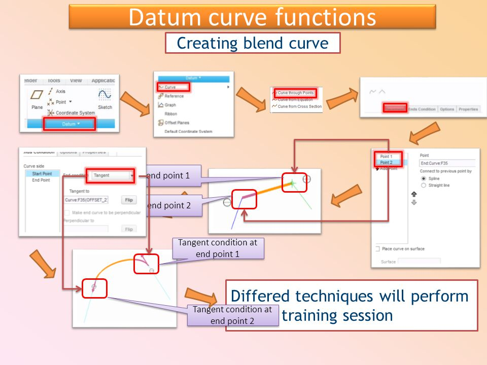 Creating blend curve Datum curve functions Differed techniques will perform during training session Select end point 2 Select end point 1 Tangent condition at end point 1 Tangent condition at end point 2