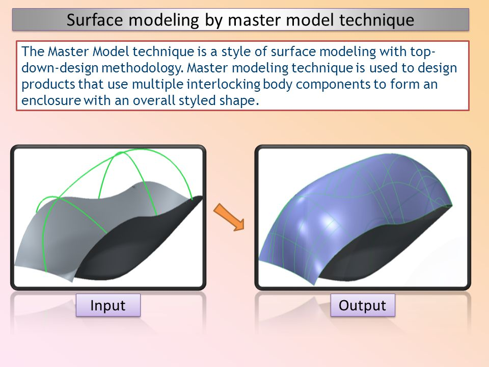 Surface modeling by master model technique Input Output The Master Model technique is a style of surface modeling with top- down-design methodology. M