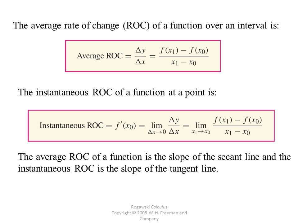 Rogawski Calculus Copyright © 2008 W. H. Freeman and Company The average rate of change (ROC) of a function over an interval is: The instantaneous ROC