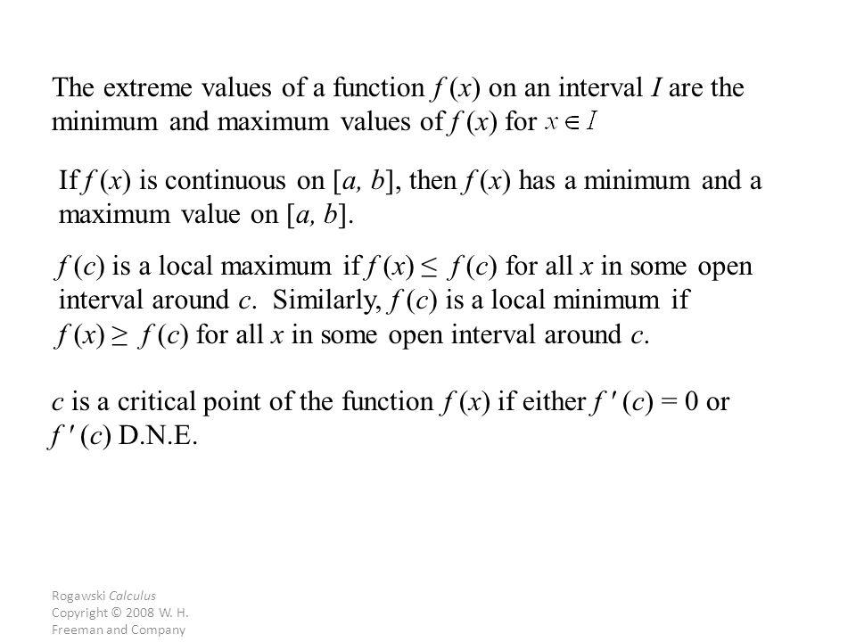 Rogawski Calculus Copyright © 2008 W. H.