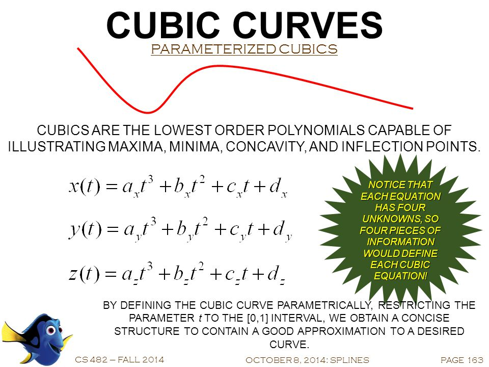 CUBIC CURVES CS 482 – FALL 2014 LINEAR LIMITATIONS OCTOBER 8, 2014: SPLINESPAGE 162 STRAIGHT LINE SEGMENTS MAY BE USED TO APPROXIMATE CURVES, BUT...