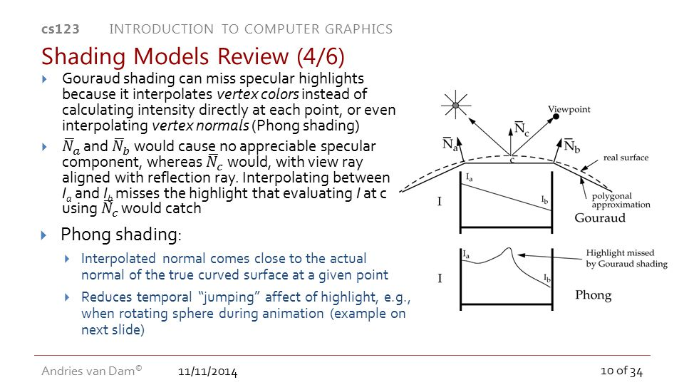11/11/2014 cs123 INTRODUCTION TO COMPUTER GRAPHICS Andries van Dam © 10 of 34 Shading Models Review (4/6)  Phong shading:  Interpolated normal comes