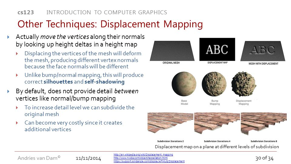 11/11/2014 cs123 INTRODUCTION TO COMPUTER GRAPHICS Andries van Dam © 30 of 34  Actually move the vertices along their normals by looking up height de