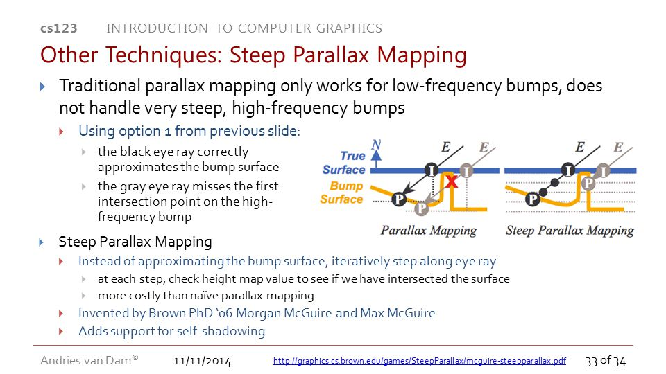 11/11/2014 cs123 INTRODUCTION TO COMPUTER GRAPHICS Andries van Dam © 33 of 34  Traditional parallax mapping only works for low-frequency bumps, does