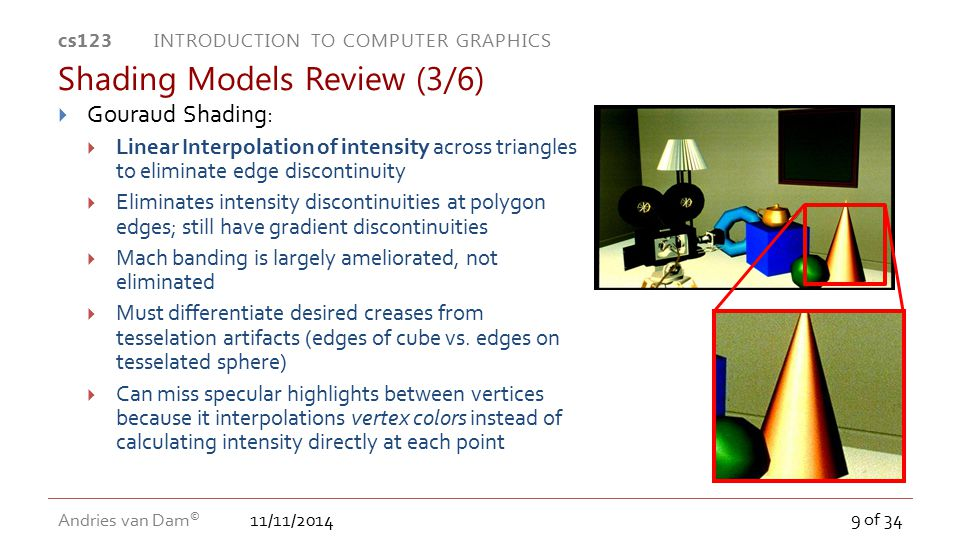 11/11/2014 cs123 INTRODUCTION TO COMPUTER GRAPHICS Andries van Dam © 9 of 34  Gouraud Shading:  Linear Interpolation of intensity across triangles t