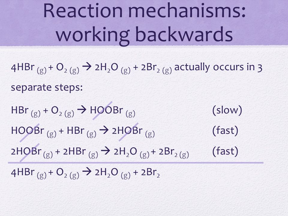 Reaction mechanisms: working backwards 4HBr (g) + O 2 (g)  2H 2 O (g) + 2Br 2 (g) actually occurs in 3 separate steps: HBr (g) + O 2 (g)  HOOBr (g)