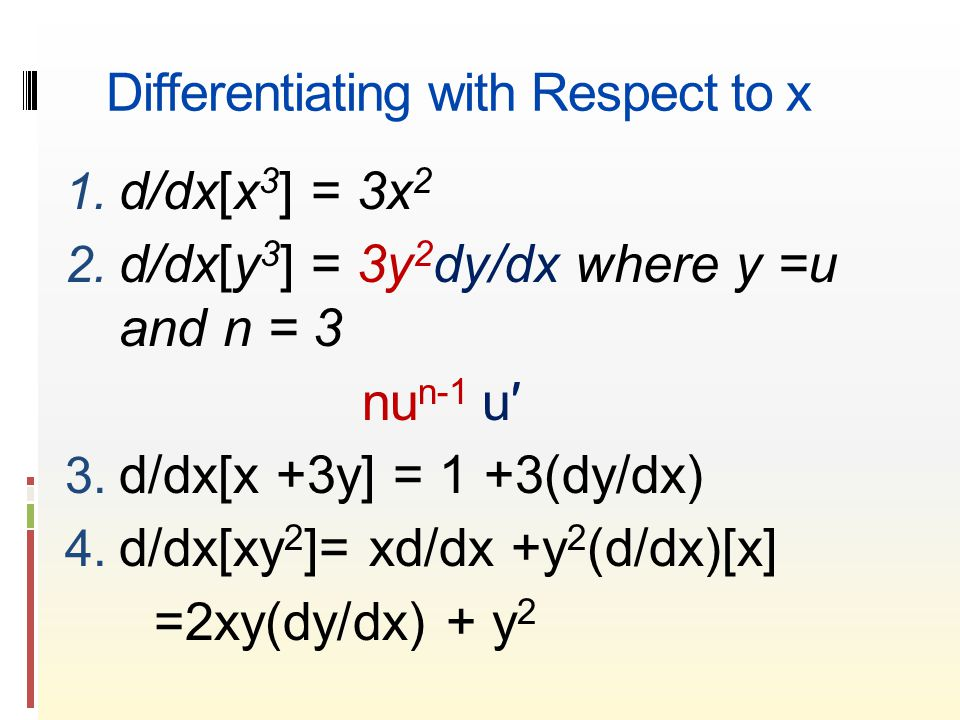 Differentiating with Respect to x 1. d/dx[x 3 ] = 3x 2 2.