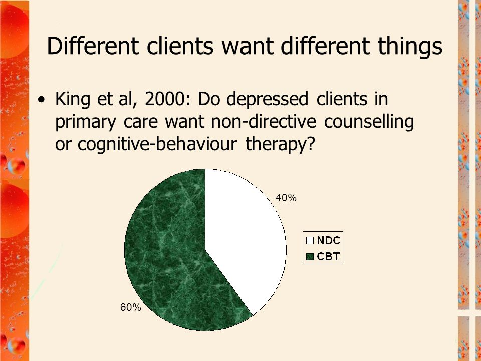 Different clients want different things King et al, 2000: Do depressed clients in primary care want non-directive counselling or cognitive-behaviour t