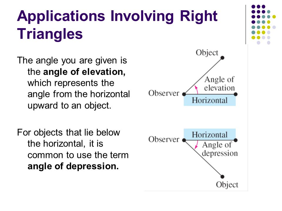 Applications Involving Right Triangles The angle you are given is the angle of elevation, which represents the angle from the horizontal upward to an