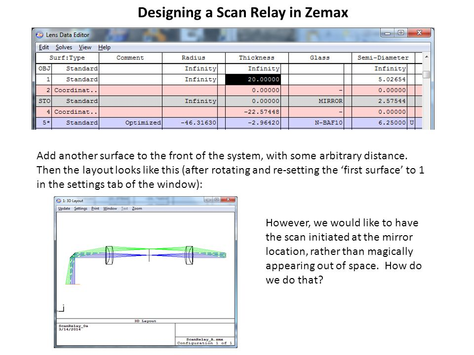 Designing a Scan Relay in Zemax Add another surface to the front of the system, with some arbitrary distance. Then the layout looks like this (after r