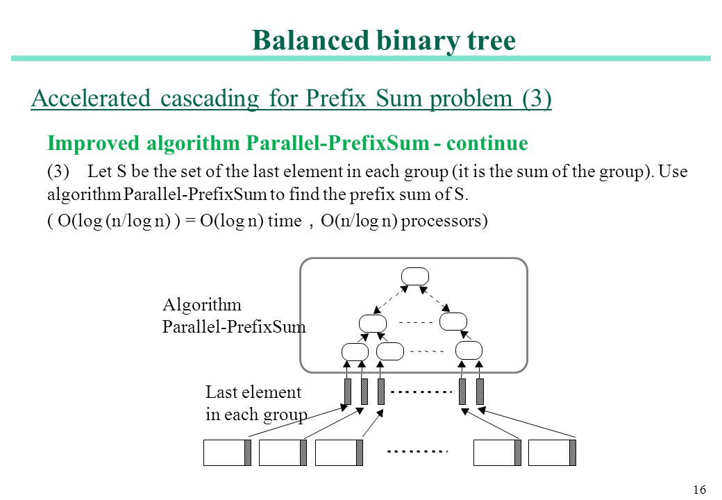 16 Improved algorithm Parallel-PrefixSum - continue (3) Let S be the set of the last element in each group (it is the sum of the group). Use algorithm