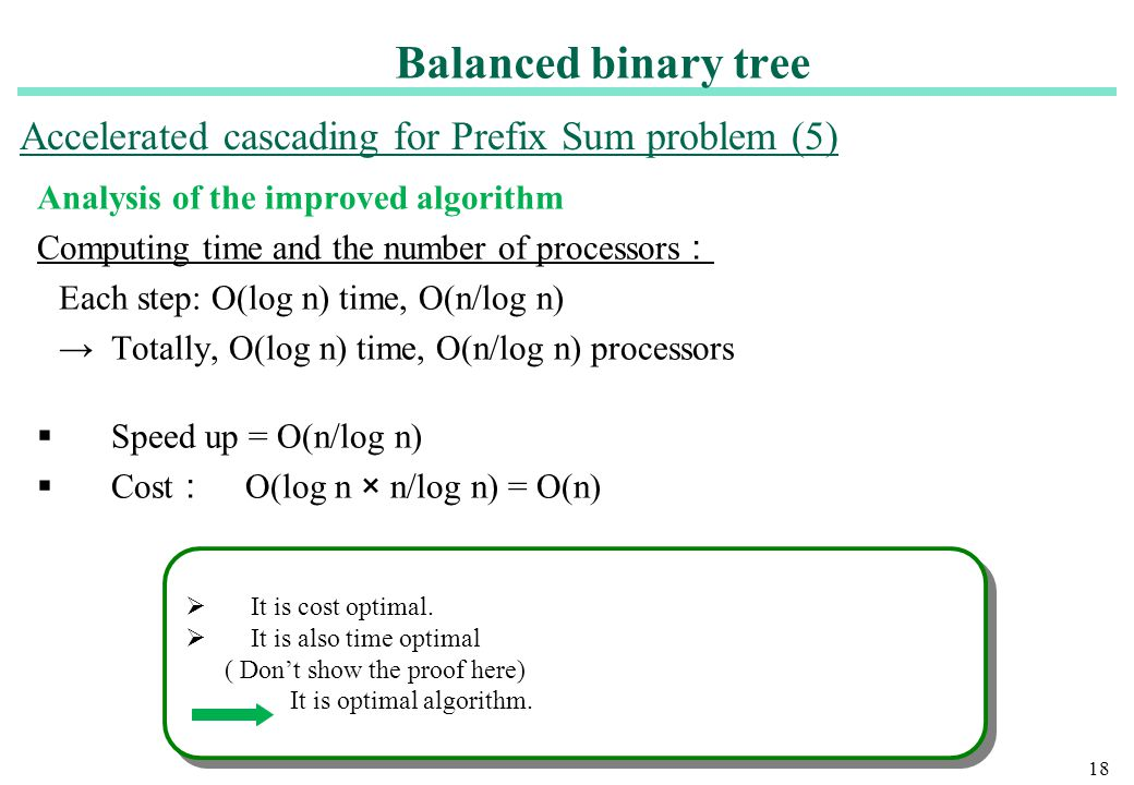18 Analysis of the improved algorithm Computing time and the number of processors : Each step: O(log n) time, O(n/log n) → Totally, O(log n) time, O(n