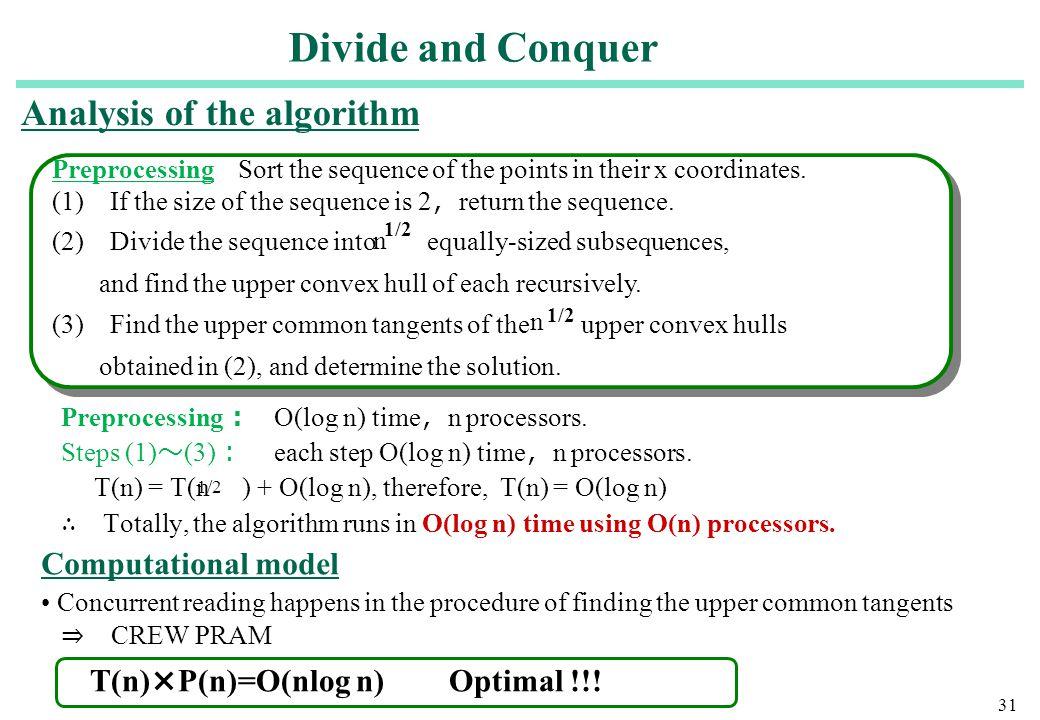 31 Preprocessing : O(log n) time , n processors. Steps (1) 〜 (3) : each step O(log n) time , n processors. T(n) = T(n ) + O(log n), therefore, T(n) =