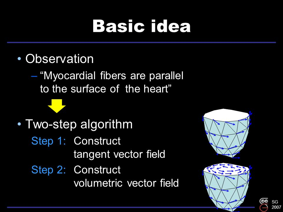 SG 2007 Basic idea Observation – Myocardial fibers are parallel to the surface of the heart Two-step algorithm Step 1:Construct tangent vector field Step 2:Construct volumetric vector field