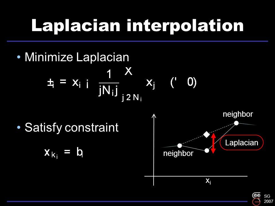 SG 2007 Laplacian interpolation Minimize Laplacian Satisfy constraint xixi Laplacian neighbor