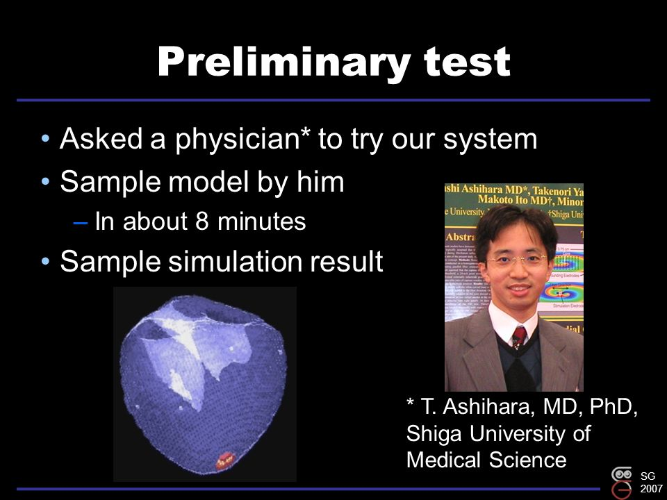 SG 2007 Preliminary test Asked a physician* to try our system Sample model by him –In about 8 minutes Sample simulation result * T.