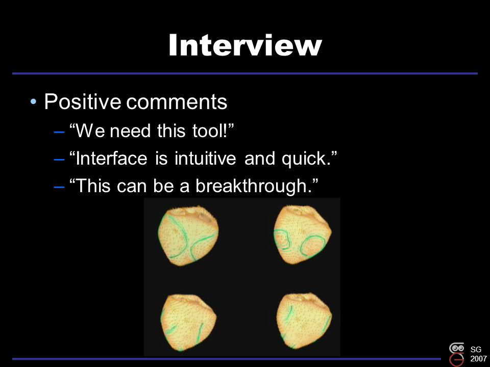 SG 2007 Interview Positive comments – We need this tool! – Interface is intuitive and quick. – This can be a breakthrough.