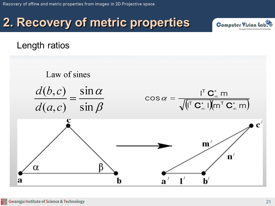 Length ratios 2. Recovery of metric properties 21 Recovery of affine and metric properties from images in 2D Projective space