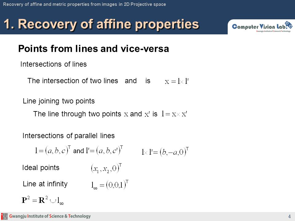Points from lines and vice-versa 1. Recovery of affine properties 4 Recovery of affine and metric properties from images in 2D Projective space Inters