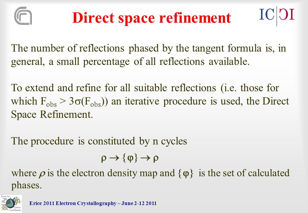 Erice 2011 Electron Crystallography – June 2-12 2011 Direct space refinement The number of reflections phased by the tangent formula is, in general, a small percentage of all reflections available.