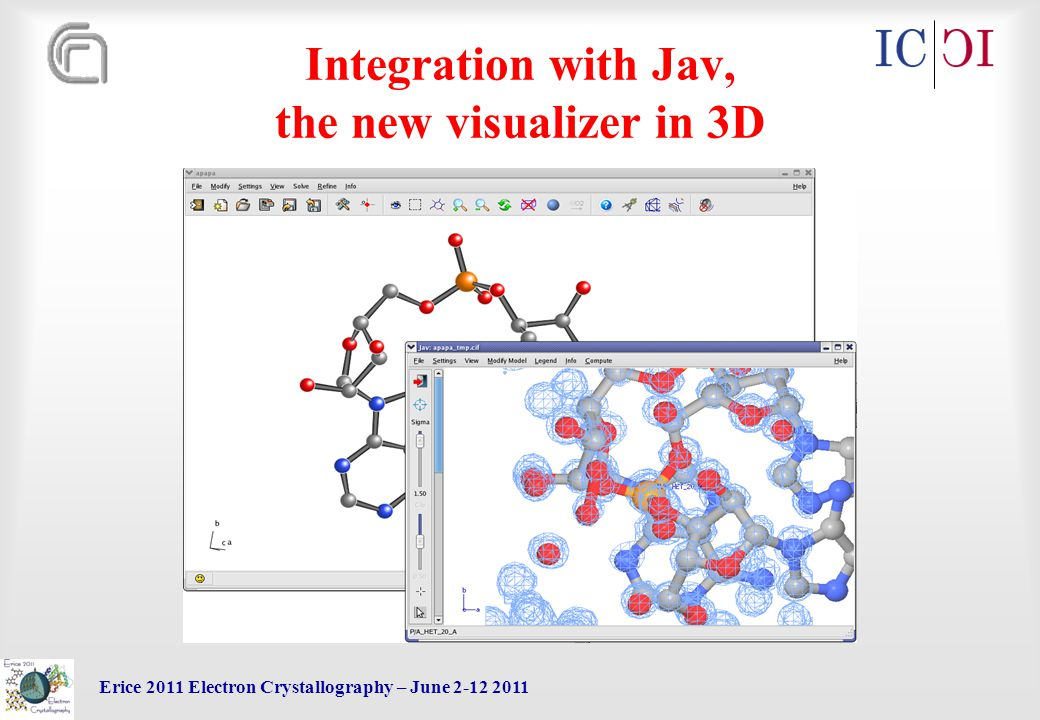 Erice 2011 Electron Crystallography – June 2-12 2011 Integration with Jav, the new visualizer in 3D
