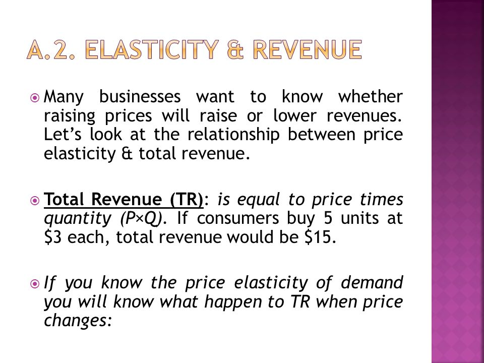  Many businesses want to know whether raising prices will raise or lower revenues. Let's look at the relationship between price elasticity & total re
