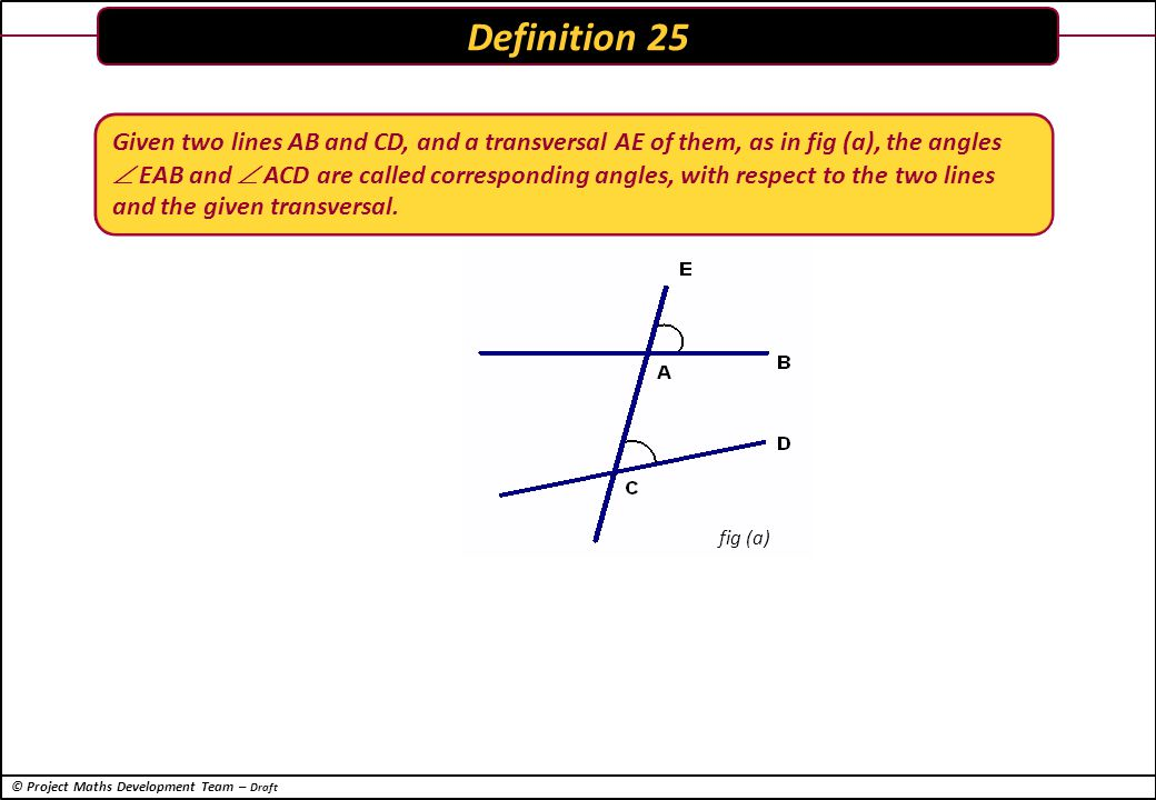 © Project Maths Development Team – Draft Two lines are parallel if and only if for any transversal, corresponding angles are equal.