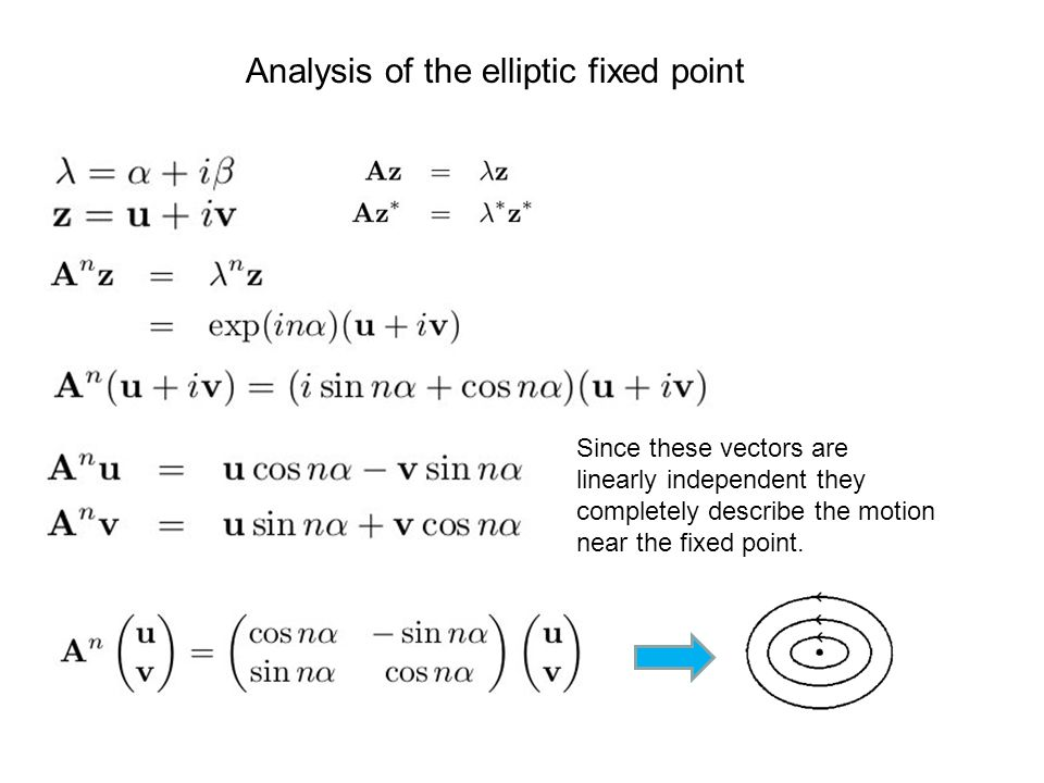 Analysis of the elliptic fixed point Since these vectors are linearly independent they completely describe the motion near the fixed point.