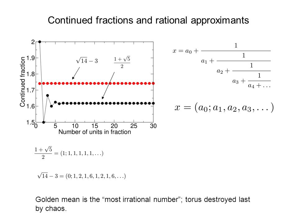 "Continued fractions and rational approximants Golden mean is the ""most irrational number""; torus destroyed last by chaos."