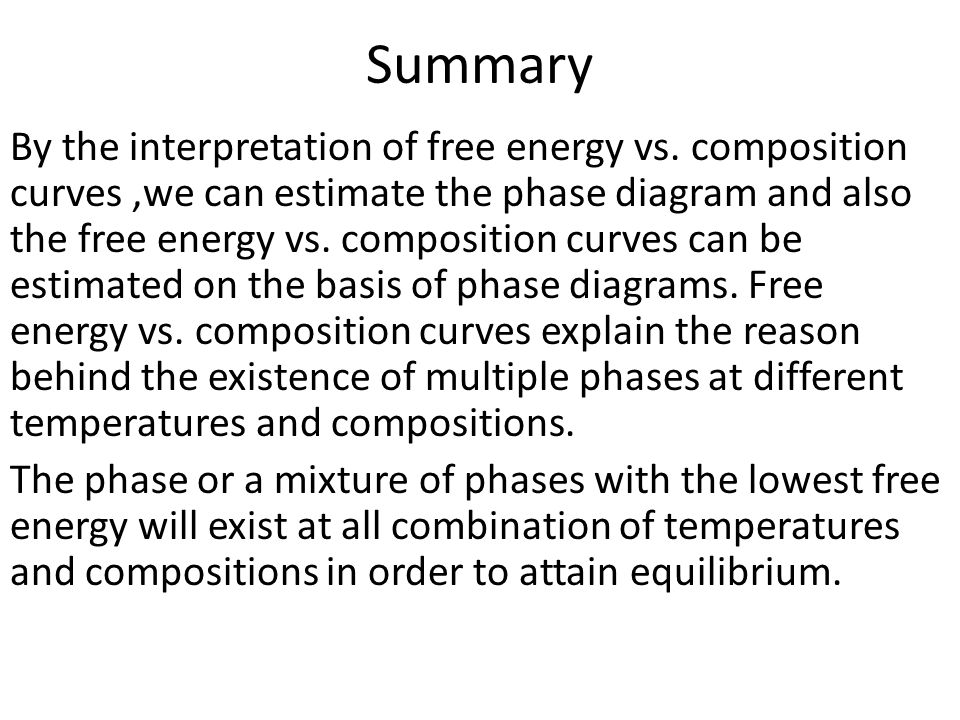 Summary By the interpretation of free energy vs.