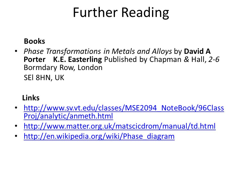 Further Reading Books Phase Transformations in Metals and Alloys by David A Porter K.E.