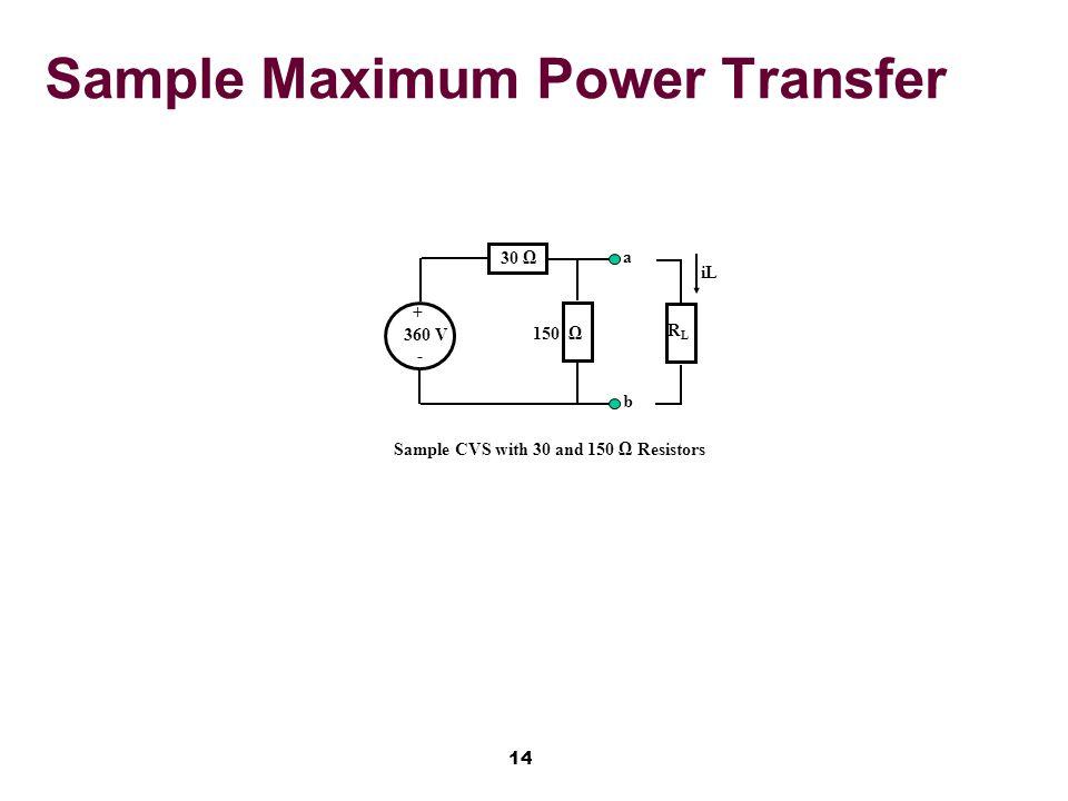 14 Sample Maximum Power Transfer 30 Ω + 360 V - Sample CVS with 30 and 150 Ω Resistors RLRL iL a b 150 Ω