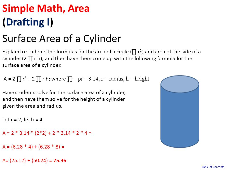 Simple Math, Area (Drafting I) Surface Area of a Cylinder Explain to students the formulas for the area of a circle ( ∏ r 2 ) and area of the side of a cylinder (2 ∏ r h), and then have them come up with the following formula for the surface area of a cylinder.