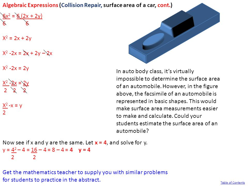 Algebraic Expressions (Collision Repair, surface area of a car, cont.) 6x 2 = 6 (2x + 2y) 6 X 2 = 2x + 2y X 2 -2x = 2x + 2y – 2x X 2 -2x = 2y 2 2 2 X 2 -x = y 2 Now see if x and y are the same.