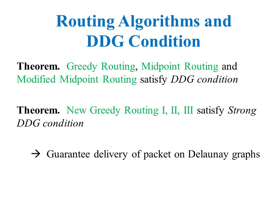 Theorem. Greedy Routing, Midpoint Routing and Modified Midpoint Routing satisfy DDG condition Routing Algorithms and DDG Condition Theorem. New Greedy