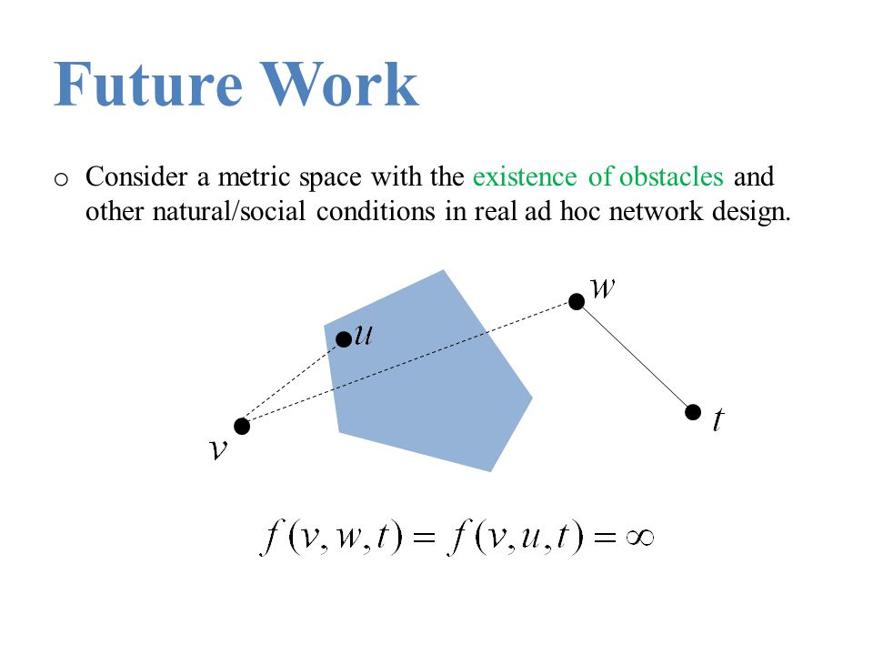 Future Work o Consider a metric space with the existence of obstacles and other natural/social conditions in real ad hoc network design.