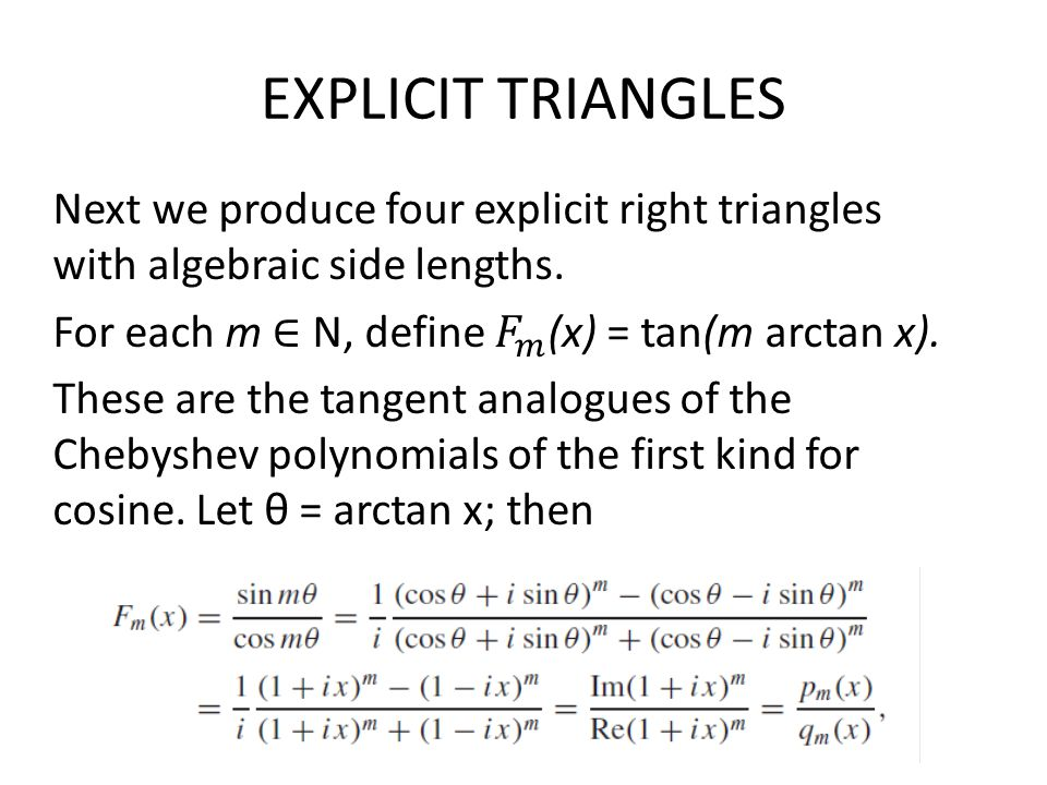EXPLICIT TRIANGLES