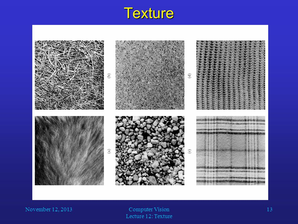 November 12, 2013Computer Vision Lecture 12: Texture 13Texture