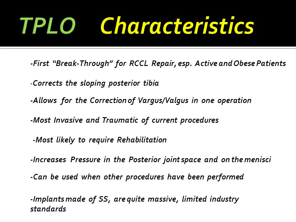"""-First """"Break-Through"""" for RCCL Repair, esp. Active and Obese Patients -Allows for the Correction of Vargus/Valgus in one operation -Increases Pressur"""