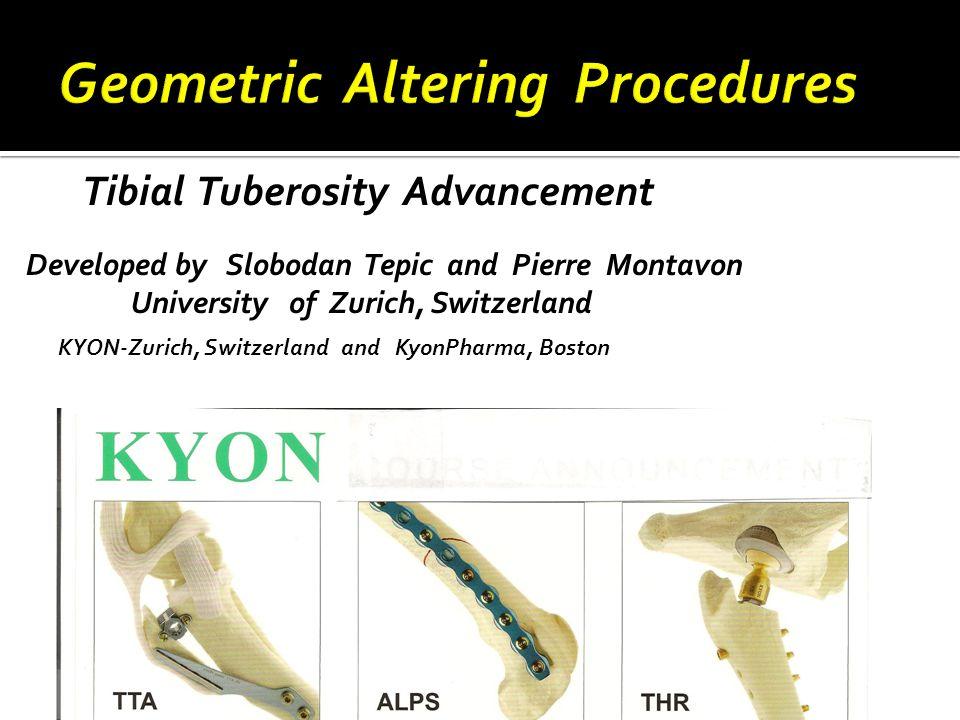Tibial Tuberosity Advancement Developed by Slobodan Tepic and Pierre Montavon University of Zurich, Switzerland KYON-Zurich, Switzerland and KyonPharma, Boston