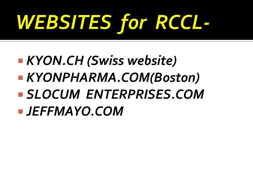  KYON.CH (Swiss website)  KYONPHARMA.COM(Boston)  SLOCUM ENTERPRISES.COM  JEFFMAYO.COM
