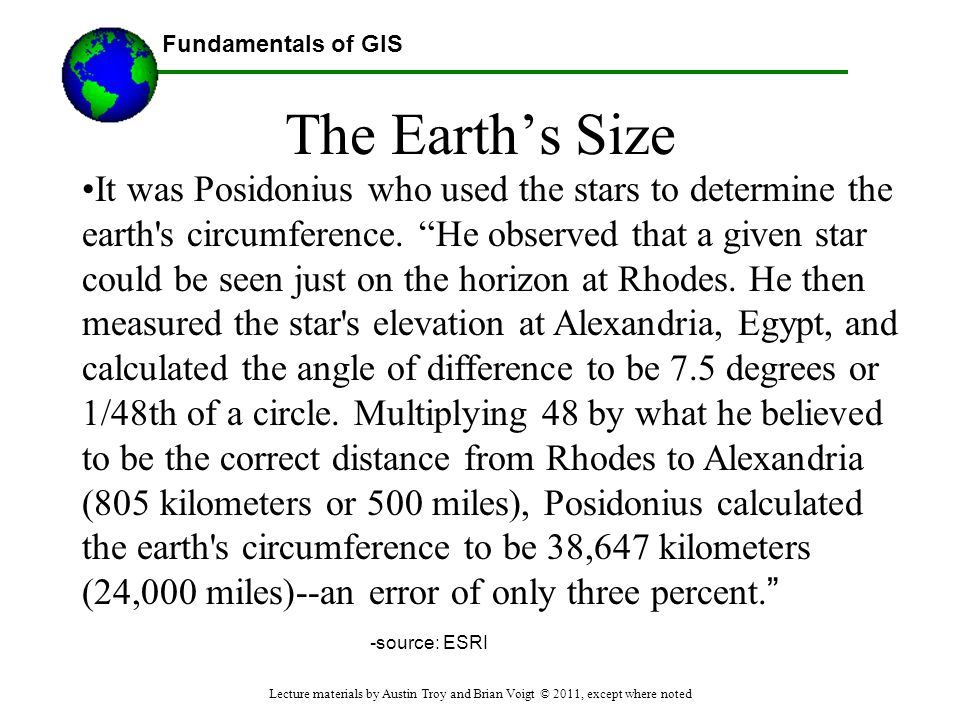 """Fundamentals of GIS The Earth's Size It was Posidonius who used the stars to determine the earth's circumference. """"He observed that a given star could"""